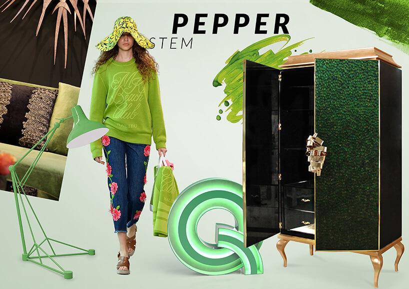 kobieta wzielonym stroju pośród zielonych mebli znapisem Pepper Stem