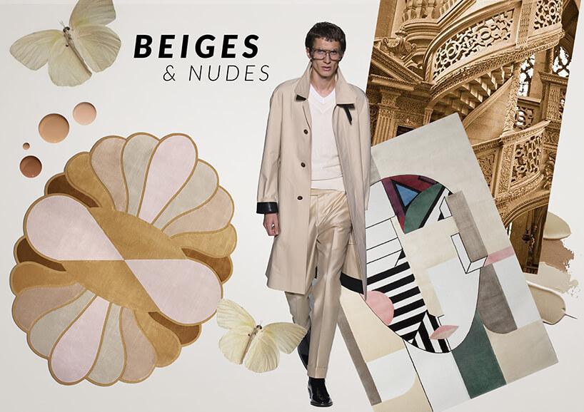 mężczyzna wbeżowym stroju pośród beżowych mebli znapisem Beiges & nudes
