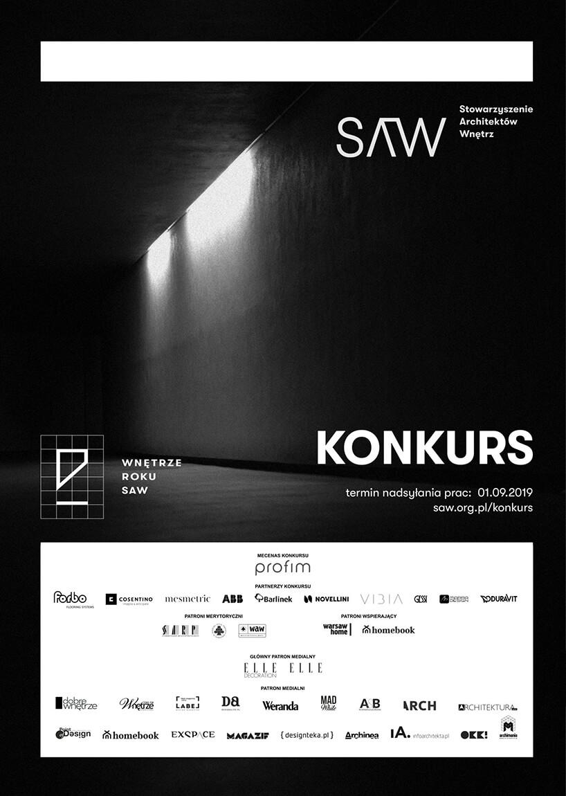 czarno-biały plakat konkursu Wnętrze Roku SAW 2019