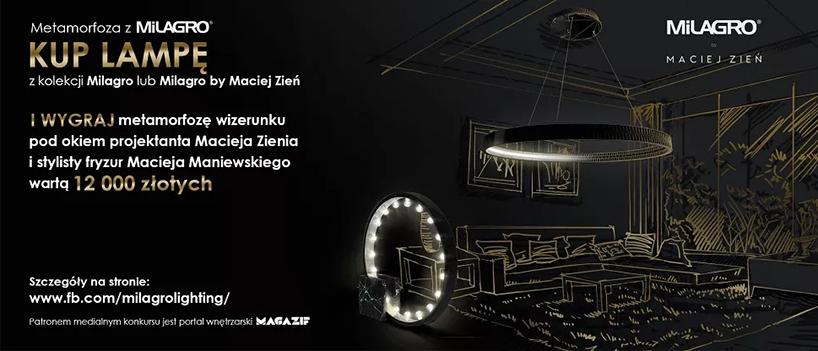 czarny plakat konkursu metamorfoza zMilagro zZieniem iManiewskim