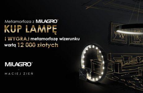 czarny plakat konkursu metamorfoza z Milagro z Zieniem i Maniewskim