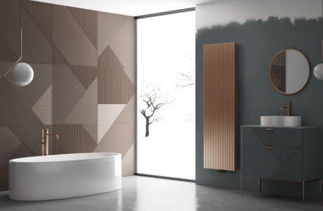 wyjątkowa łazienka z fakturowanymi brązowymi płytki za białą wolnostojącą wanną