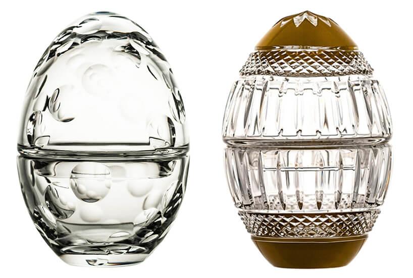 dwa kryształowe otwierane jaja