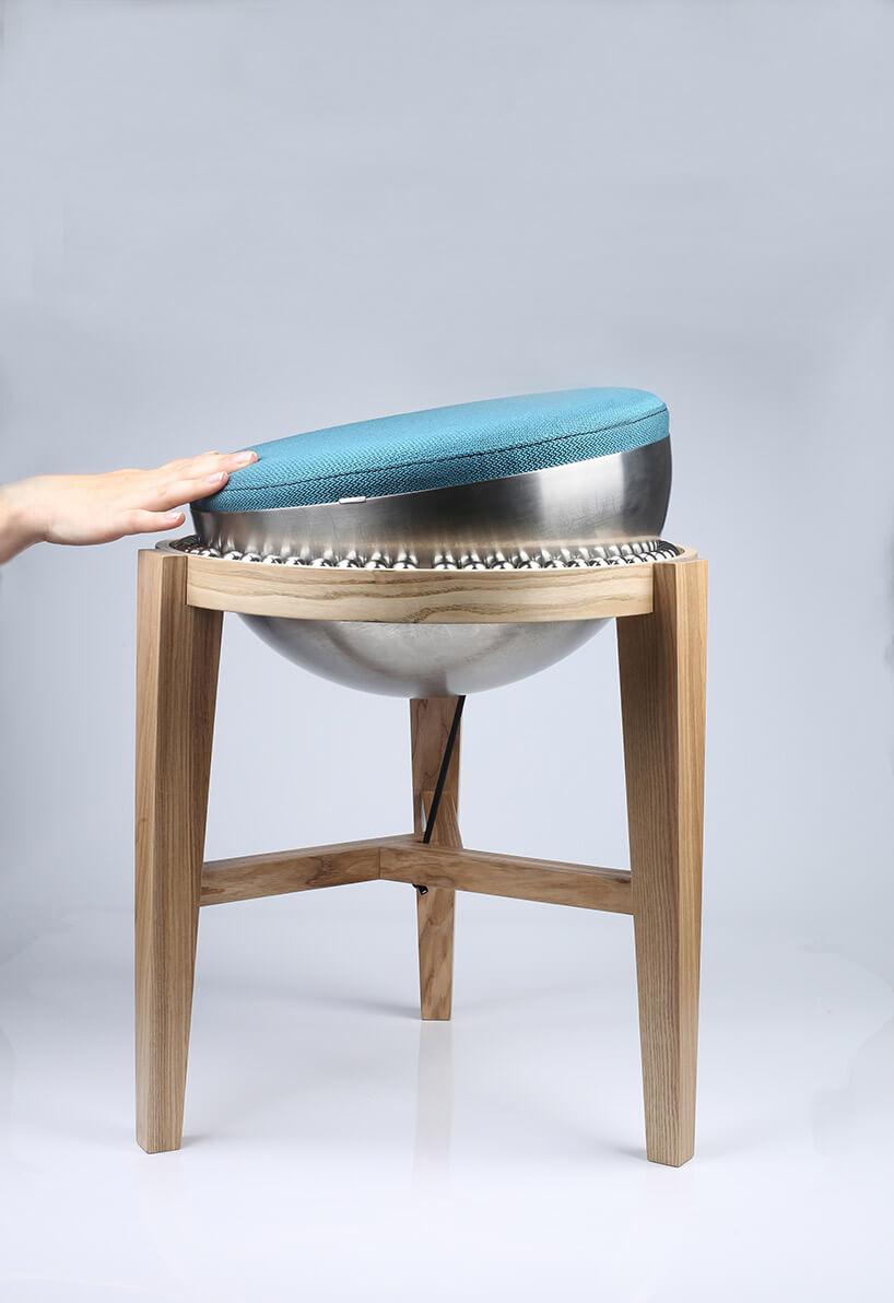 przechylone siedzisko krzesła zosadzeniem kulkowym