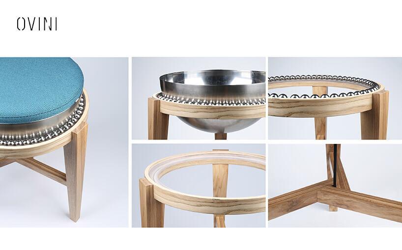elementy konstrukcyjne krzesło wkulkowym osadzeniem siedziska