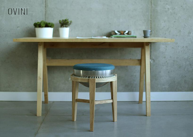 krzesło wkulkowym osadzeniem siedziska przy stole