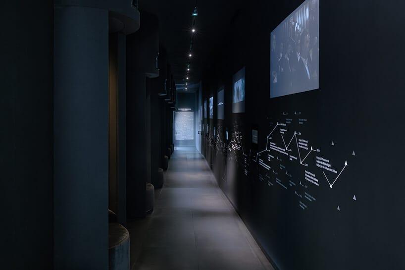 czarny korytarz zumieszczonymi pkilkoma projektorami wyświetlającymi rzeczy oKrzysztofie Pendereckim projektu Nizio Design International