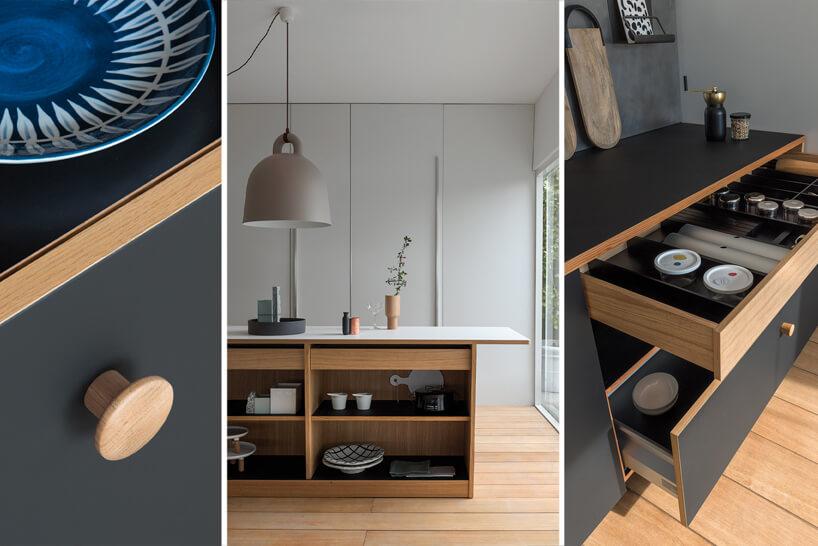 zestawienie 3 zdjęć kuchni zdrewnianymi elementami iszarymi frontami