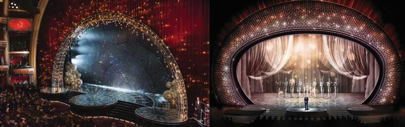 dwie duże sceny teatralne wformie okręgu ze zdobieniami