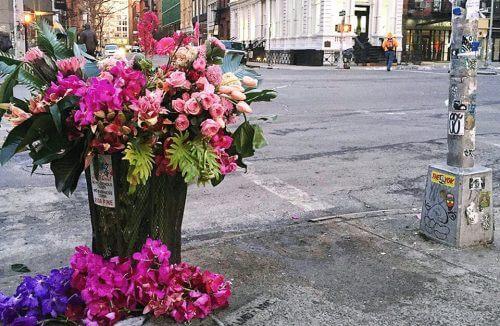 kwiaty w koszu na śmieci w Nowym Jorku