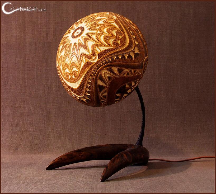 kulista lampa ze wzorem