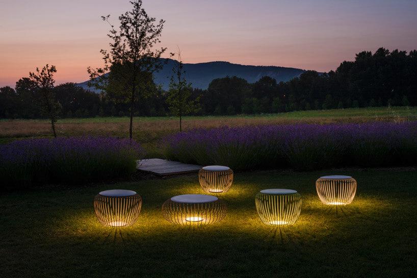 pole zkilkoma lampami świecącymi na żółtno