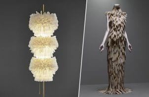 zestawienie lampy z piór z suknią z piór