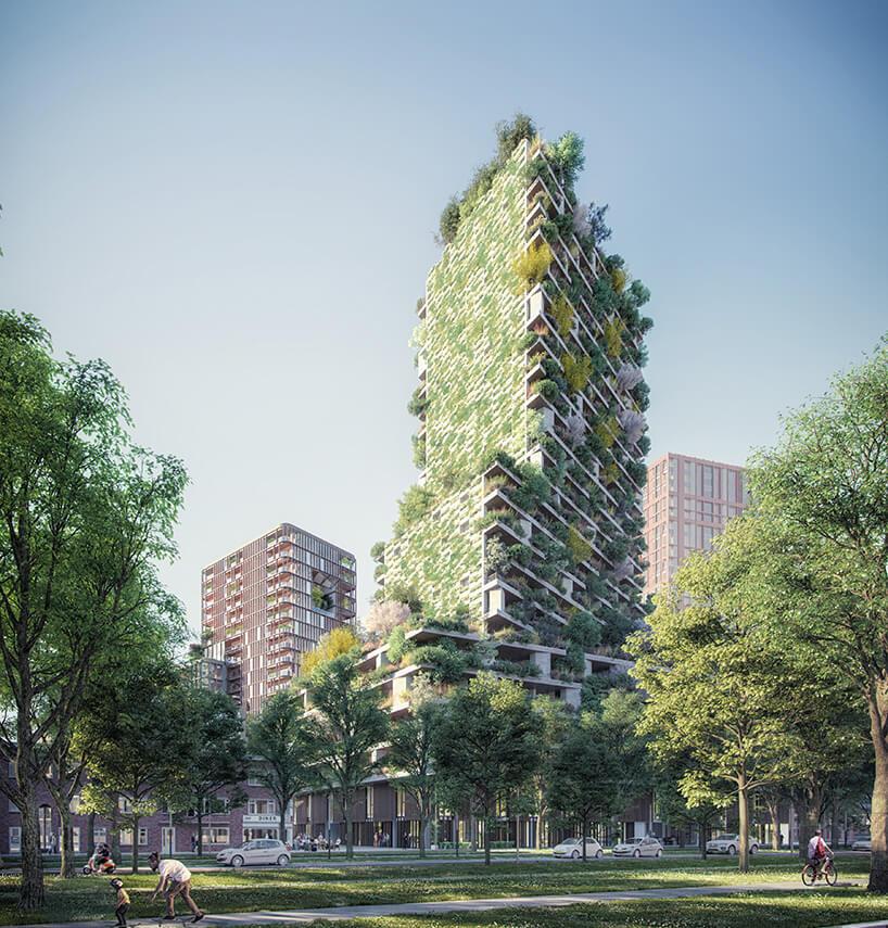 zielony wieżowiec wUtrechcie