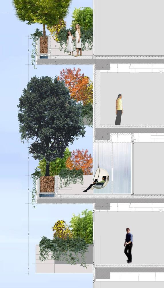 projekt zielonej elewacji wieżowca