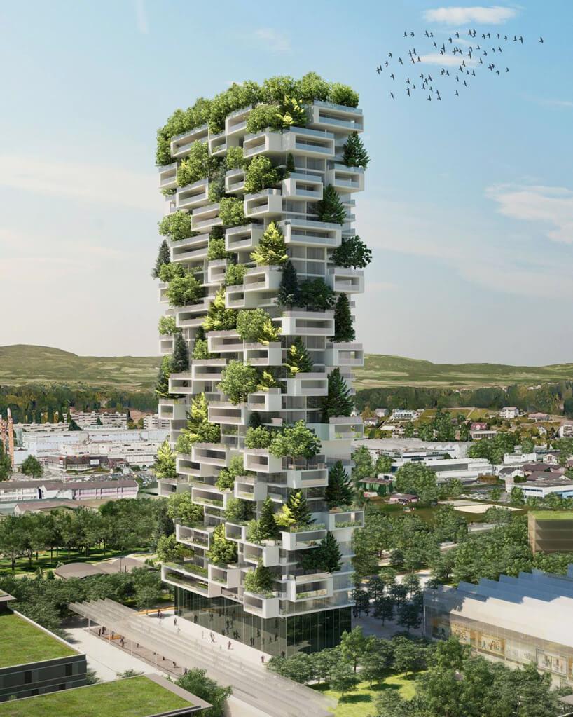 projekt zielonego wieżowca wLozannie wcałości
