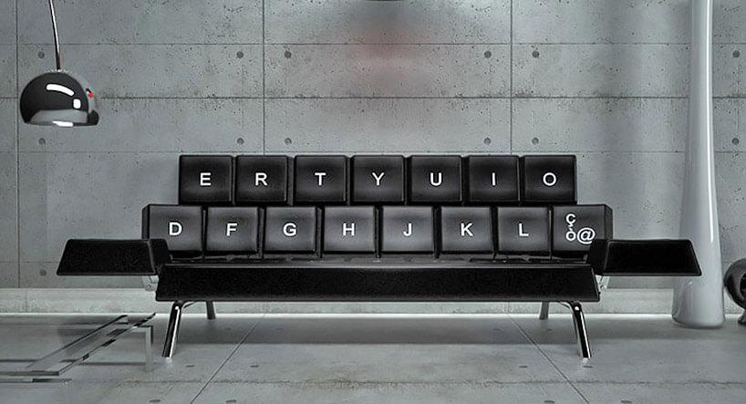 sofa na wzór klawiatury komputerowej