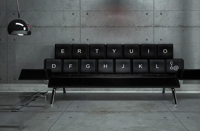 czarna sofa na wzór klawiatury komputerowej