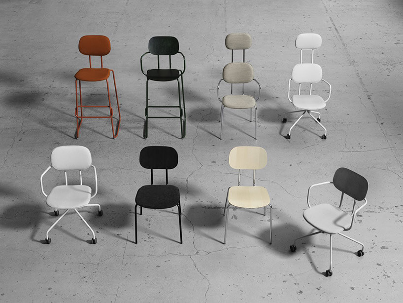 8 różnych prostych krzeseł wróżnych kolorach