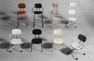 8 rodzai różnokolorowych krzeseł