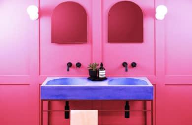 betonowe kolorowe umywalki