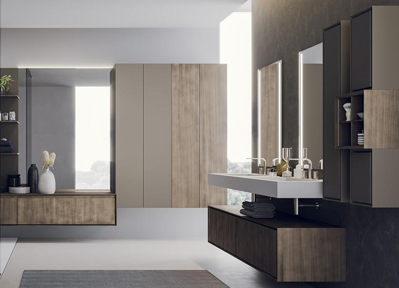 elegancka nowoczesna łazienka zkolekcją łazienkową Libera+ od Novello projektu Gian Vittorio Plazzogna