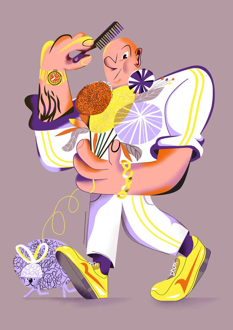ilustracja mężczyzny wbiałym stroju zfioletowym pupilem czeszący łysą głowę Skokobryki