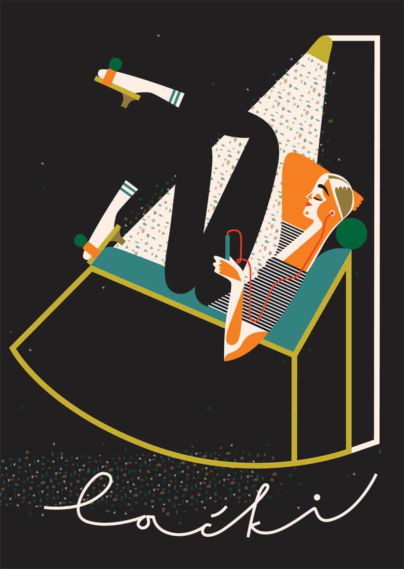 ilustracja odpoczywającej kobiety zpodpisem Laćki