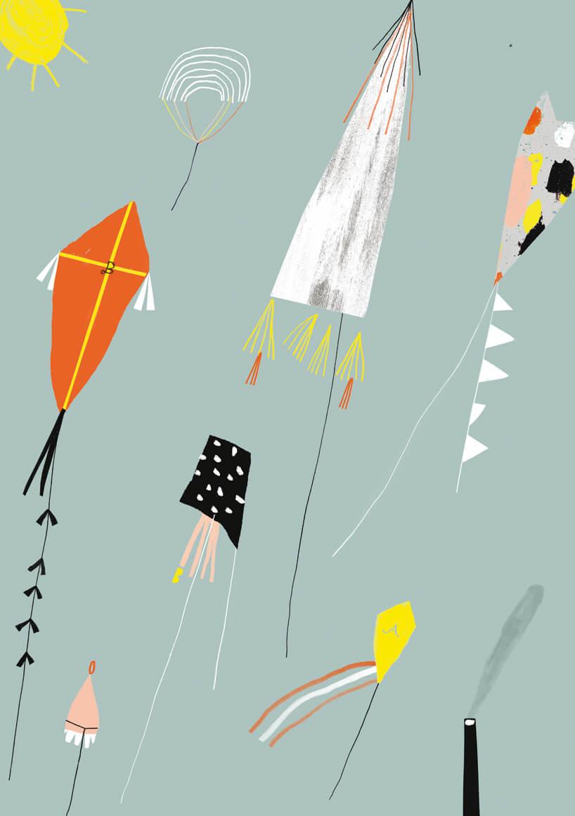 ilustracja różnych latawców na szarym tle Boba