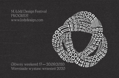 szaro biały plakat Łódź Design Festival 2020