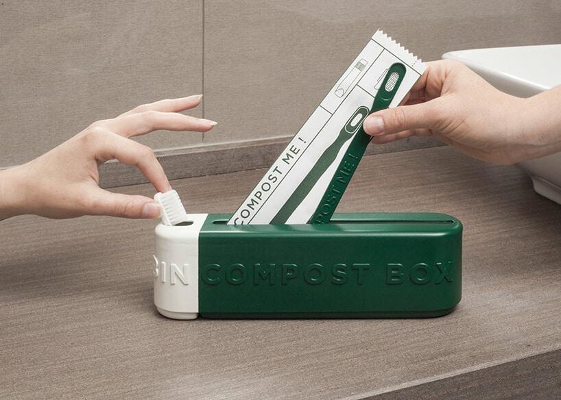 zestaw kompostowalnych kosmetyków wzielonym pudełku na blacie