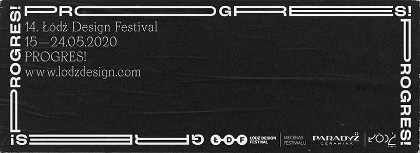 czarno biały plakat Łódź Design Festival 2020