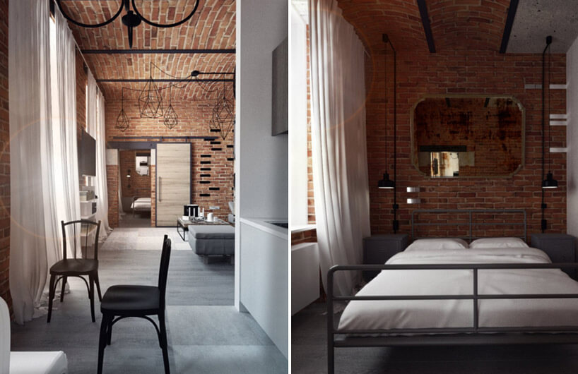 duża sypialnia wceglanym stylu