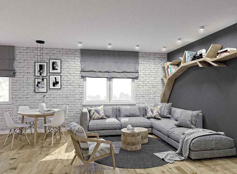szara rogówka białe krzesła istolik wceglanym pokoju