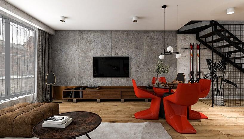 ściana zbetonu ztelewizorem oraz szafkami wciemnym brązie