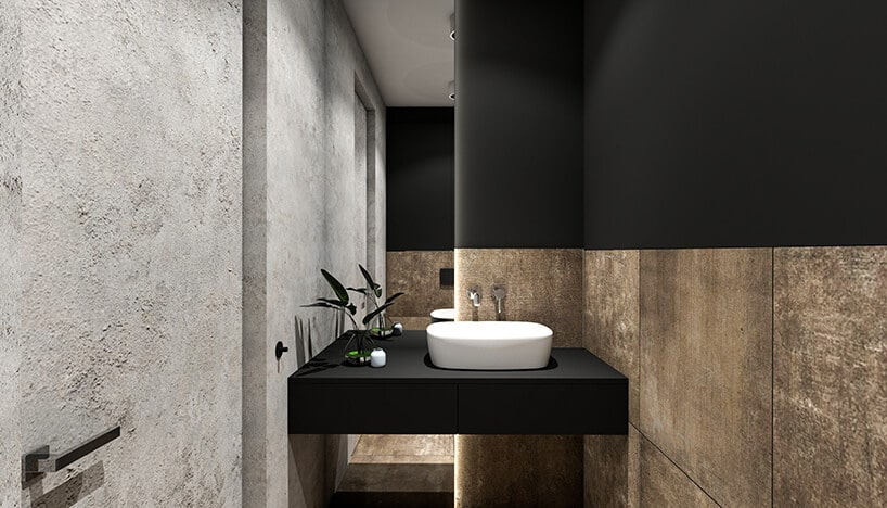 betonowe surowe wnętrze łazienki włódzkiej kamienicy