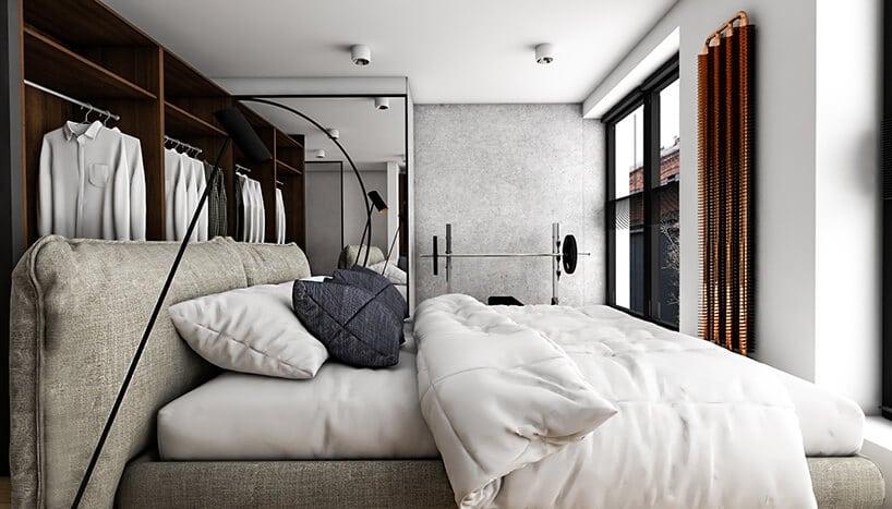 nowoczesna sypialnia złóżkiem garderobą imałą siłownia