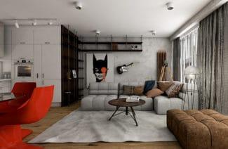 salon w małym mieszkaniu z puszystą szarą kanapę oraz obraz na ścianie