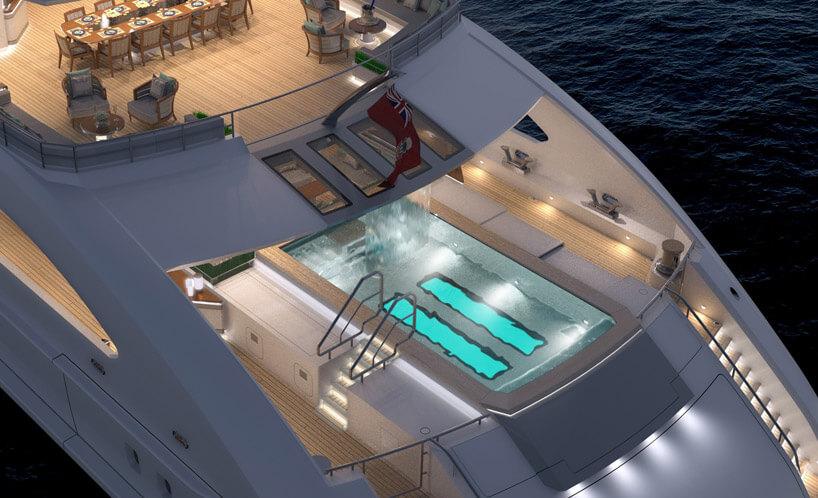 basen na pokładzie białego statku