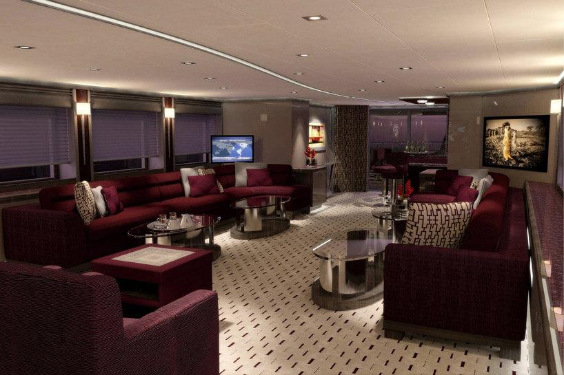 wnętrze luksusowego jachtu zczerwonym wykończeniem