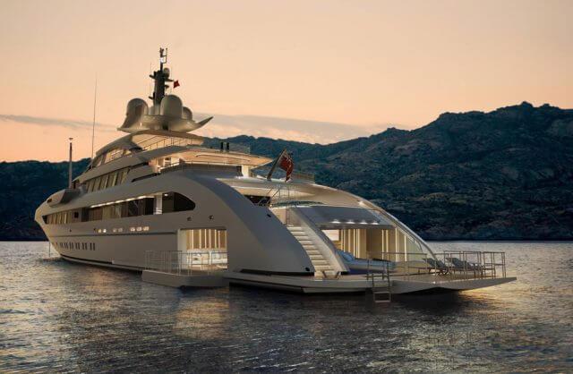 biały luksusowy jacht w dużej zatoce