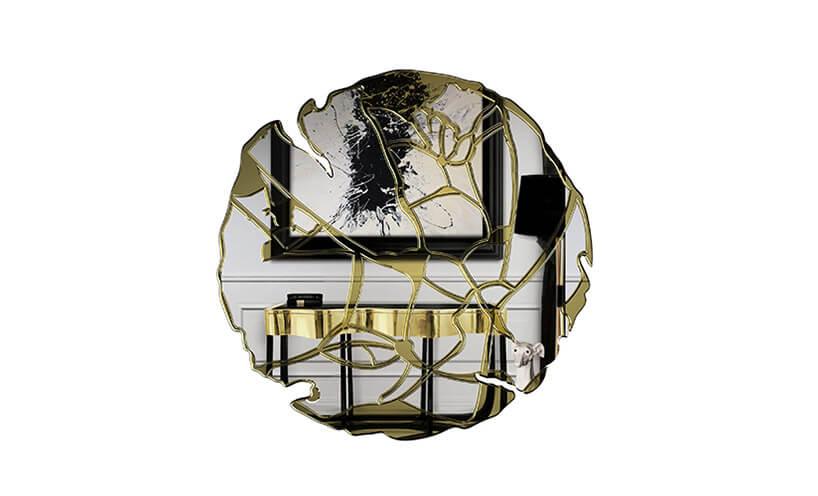 piękne okrągłe lustro znieregularną krawędzią