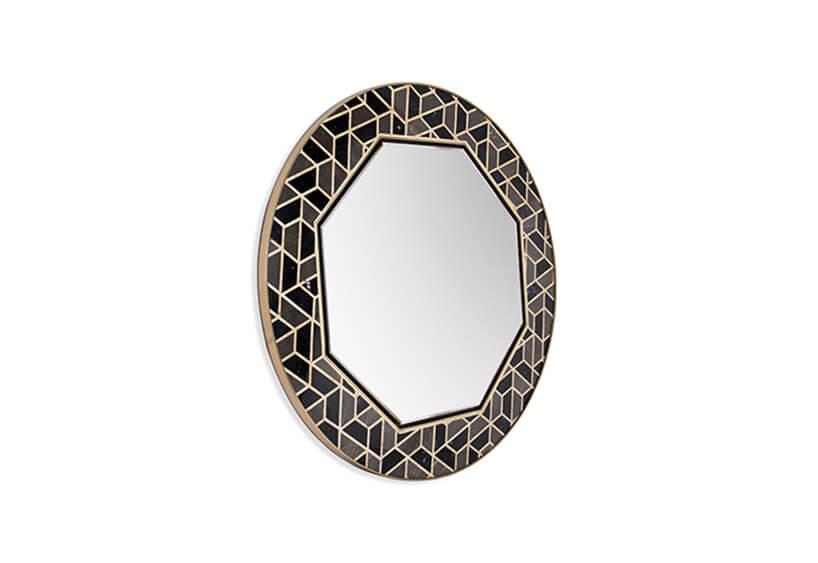 ośmioboczne lustro wokrągłej ramie