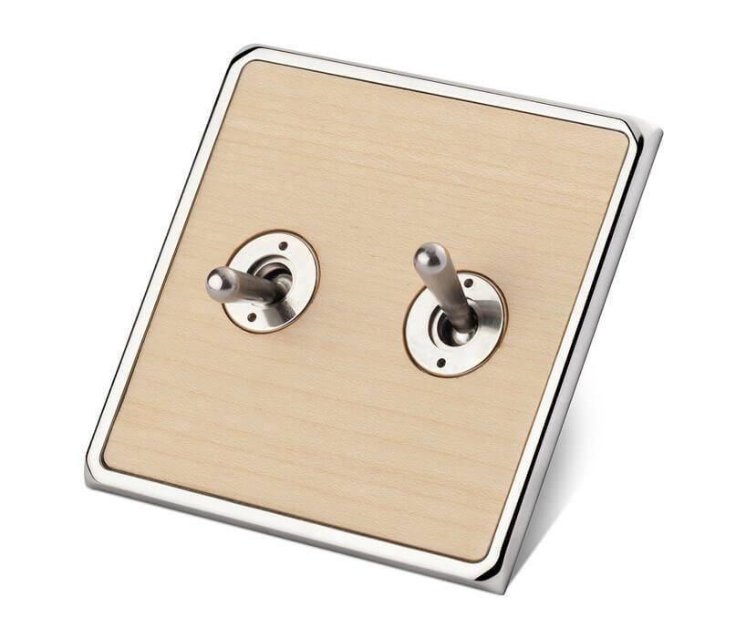 elegancki włącznik metalowo-drewniany