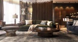 duży apartament wmoskwie zciemnym drewnem izłotymi dodatkami