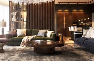 duży apartament w moskwie z ciemnym drewnem i złotymi dodatkami