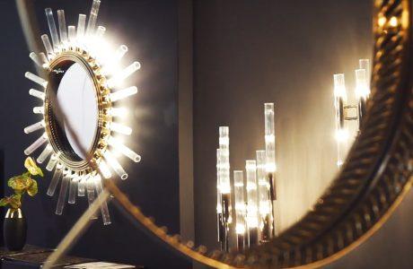 wyjątkowo zdobione okrągłe lustro