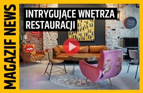 Popartowe wnętrze restauracji popin z różowym fotelem na pierwszym planie