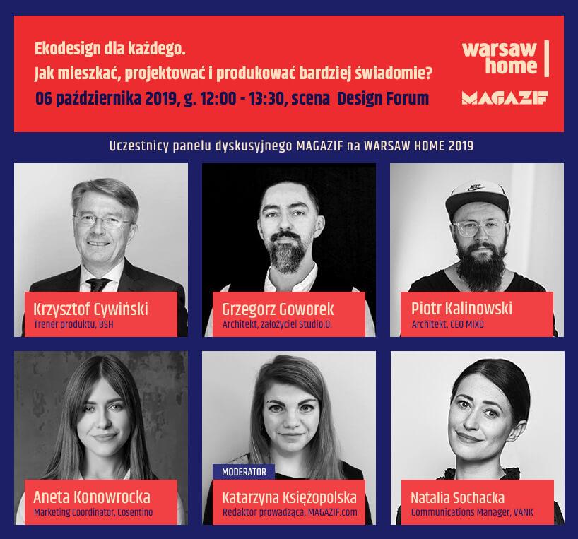 uczestnicy panelu dyskusyjnego MAGAZIF na Warszaw Home 2019