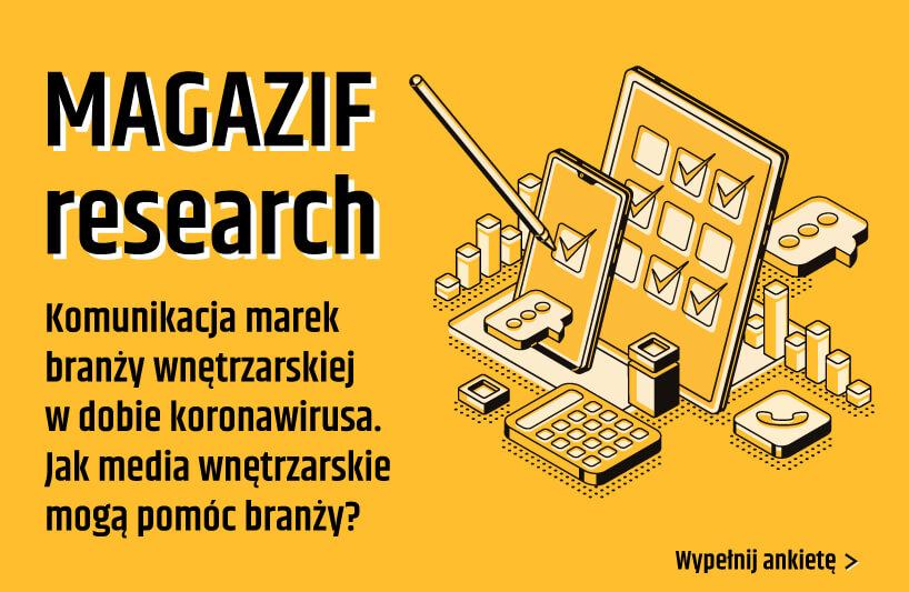 żółta grafika MAGAZIF resarch informująca obadaniu Komunikacja marek branży wnętrzarskiej wdobie koronawirusa
